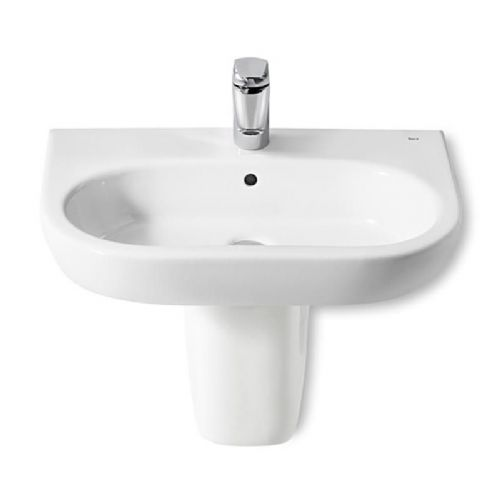 Roca Meridian-N Round Basin With Semi Pedestal - 500mm - 1 Tap Hole - White